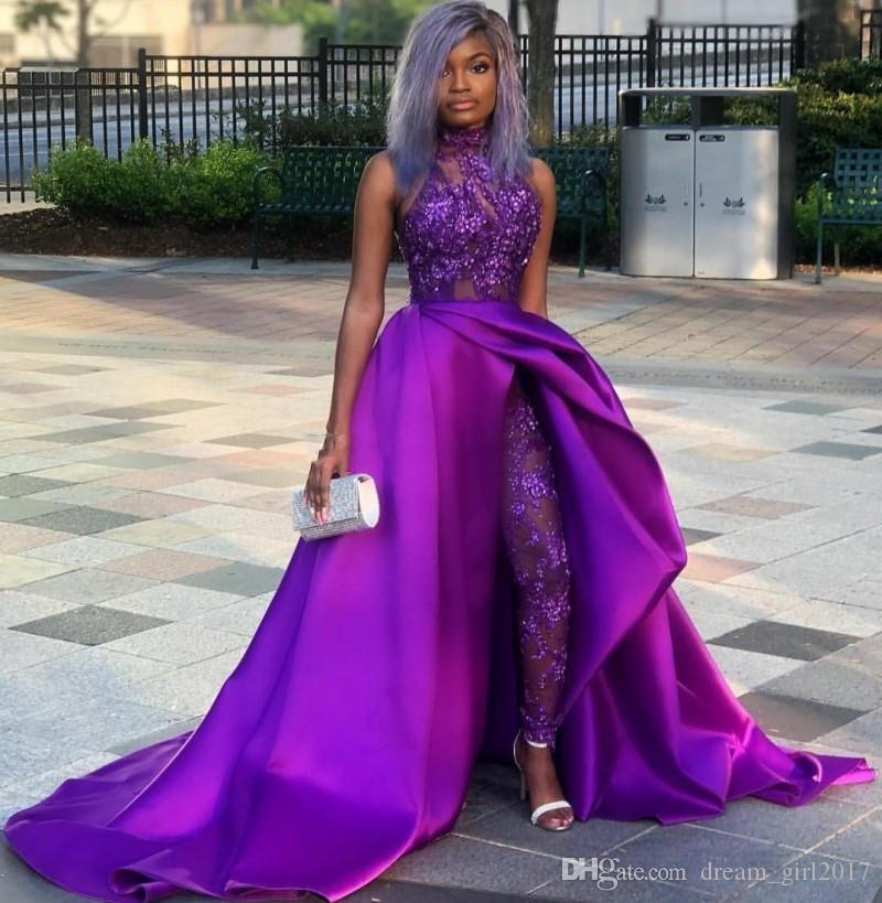 Purple Sequined Overskirt Jumpsuit Prom Dresses High Neck Appliqued Side Split Evening Gowns Beaded Plus Size Sweep Train Satin Formal Dress