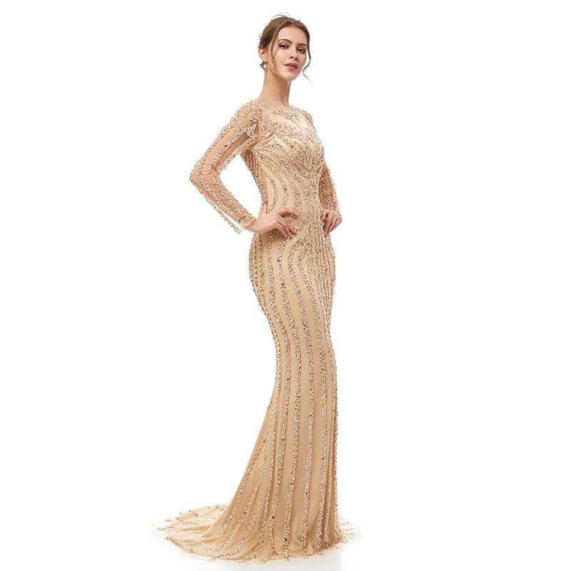 5405 Champagne Sheer Backless formalen Abend-Kleid-reizvolle Abschlussball-Partei-Abnutzung Mermaid bodenlangen lange Ärmel wulstige Roben de soirée