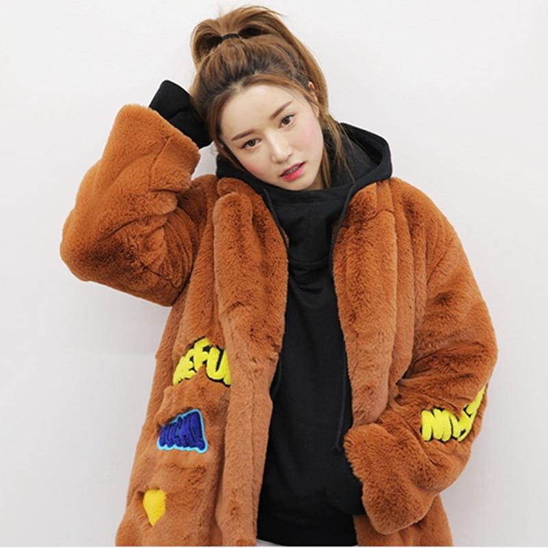 Ceket Kadınlar Pamuk Kış Yüksek imitasyon kürk Kalın Uzun Parka İşlemeli Rozet Peluş Kabanlar Kadınlar Yün Coat Hırka YXR356