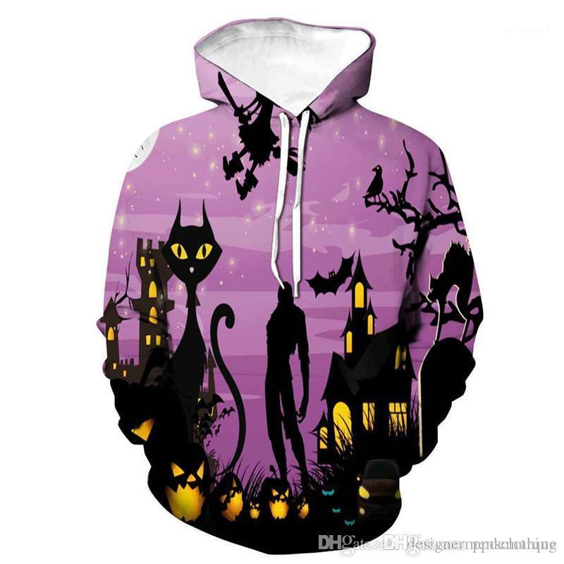 Vêtements Pumpkin 3D Imprimer Hoodies Designer Halloween manches longues à capuche Couples Sweatshirts Spécial fête Homme