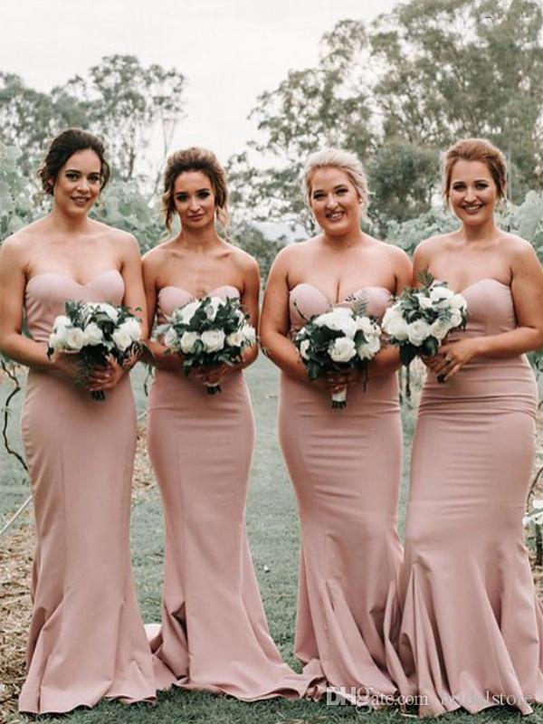 simple designs mermaid dusty pink bridesmaid dresses sweetheart sweep train zipper long cheap robes de demoiselle d'honneur women party gown