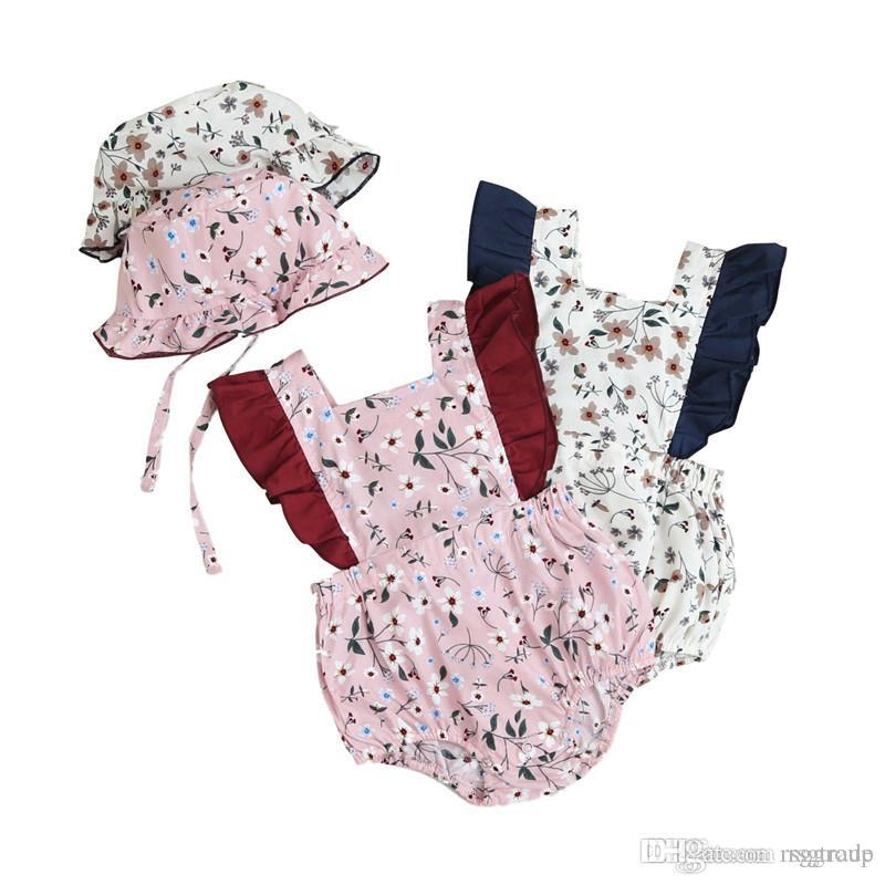 INS New Summer Toddler Baby Girls Floral Jumpsuits with Hat 2pieces Set Ruffles Sleeve Square Collar Cotton Bodysuit Baby Romper 3-18M