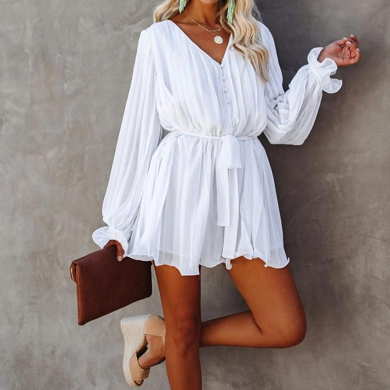 2020 шифон Бикини Сокрытия Sexy V-образным вырезом Само Belted Летнее платье Белый мундир Женщины Пляжная одежда Swim Suit Cover Up Sarongs A396