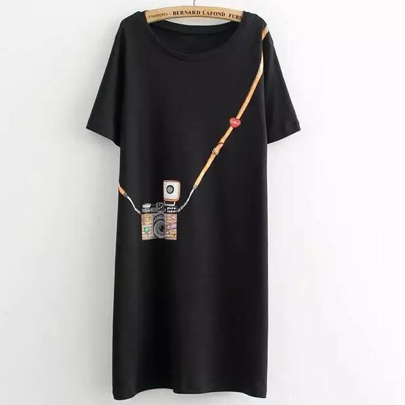 Neue Mode T-shirt Frauen T-Shirt Große Größe Sommer Einfache Kamera Gedruckt Langer Abschnitt der weiblichen T-Shirt Großer freies Verschiffen