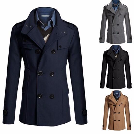 Cazadora Slim Fit capa larga caliente del doble de pecho Chaquetón capa de la chaqueta de los hombres - Negro Gris Armada camello M-XXL