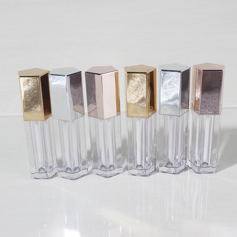 5ml-8ml Rose Gold Argento Cosmetic Lip Gloss Tube, di plastica trasparente Labial glair Rossetto Ricaricabile contenitore Correttore bottiglia