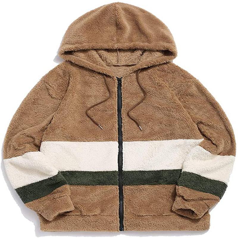 패션 남성 모피 코트 디자이너 겨울 따뜻한 코트 플란넬 후드 자켓 겨울 캐주얼 봉제 자켓 지퍼 남성 착실히 보내다 느슨한 후디 운동복