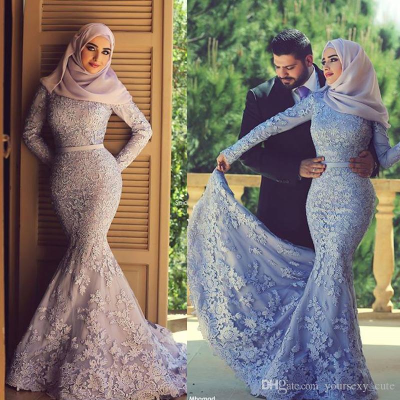 2017 Zarif Dantel Müslüman Abiye Uzun Kollu Lavanta Mermaid Gelinlik Suudi Arapça Resmi Elbiseler Artı Boyutu