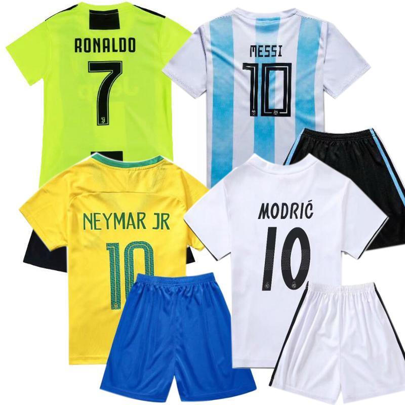 Kids Football Jerseys Messi Ronaldo Neymar Mbappe Soccer Jersey France Boys Girls Sports Sets Children T Shirts + Shorts 90-160cm XZT035