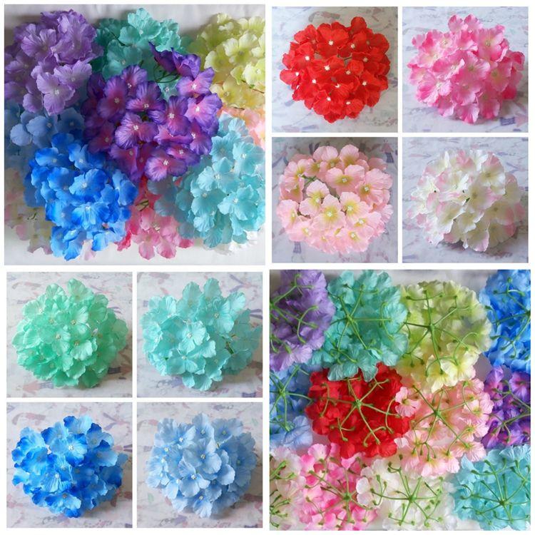 Jefes caliente flores artificiales Hydrangea decoración de la boda de fiesta falso Simulación Cabeza de flor decoraciones caseras T10I0019