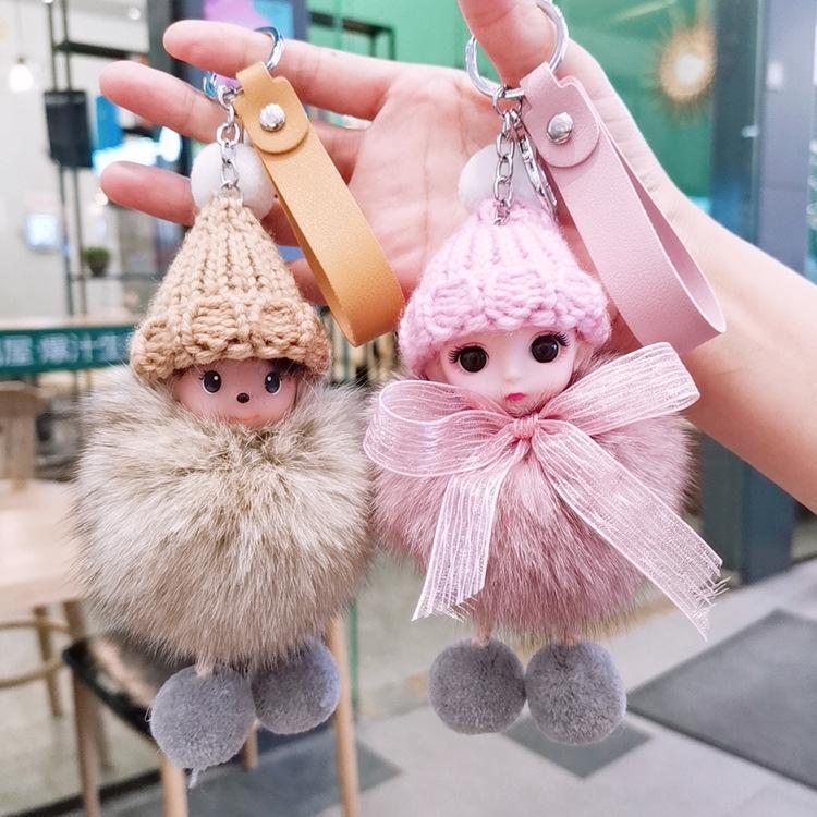 et le style arc porte-clés coréenne japonaise Doll cadeau coréenne grand oeil clé de voiture pendentif renard poupée fourrure en peluche pendentif Zzyup