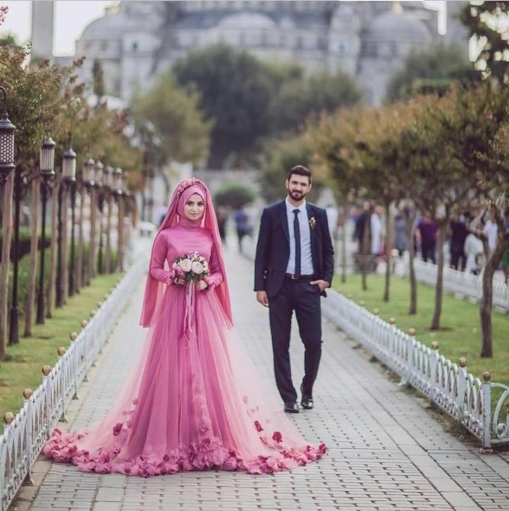 Pink Muslim Elegant High Neck Full Figure Long Sleeve HiJab Women Evening Dress in China Ladies Evening Dress African Kitenge Designs Dress