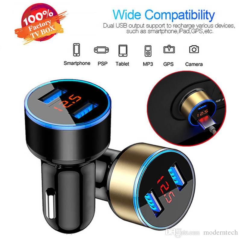 LED 3.1A Dual Display USB Car Charger Universal Mobile Phone Car-carregador para iPhone S9 Xiaomi Samsung S8 X 11 6s 7 8 Plus Tablet
