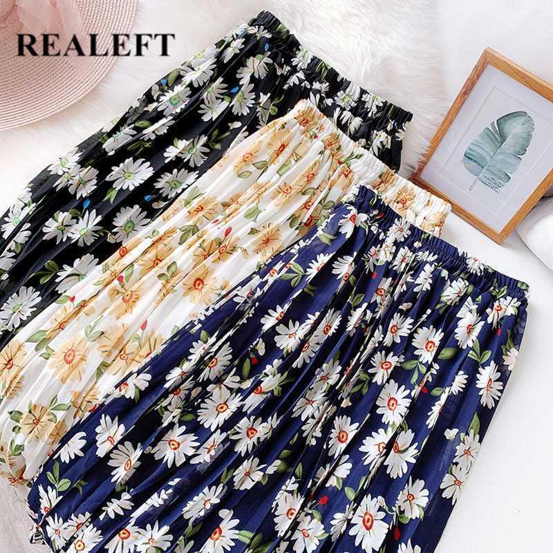 REALEFT New 2020 floral do verão impressão Bohemian Chiffon Tulle saias longas Mulheres Moda cintura alta plissada Maxi Lady Saia fêmea