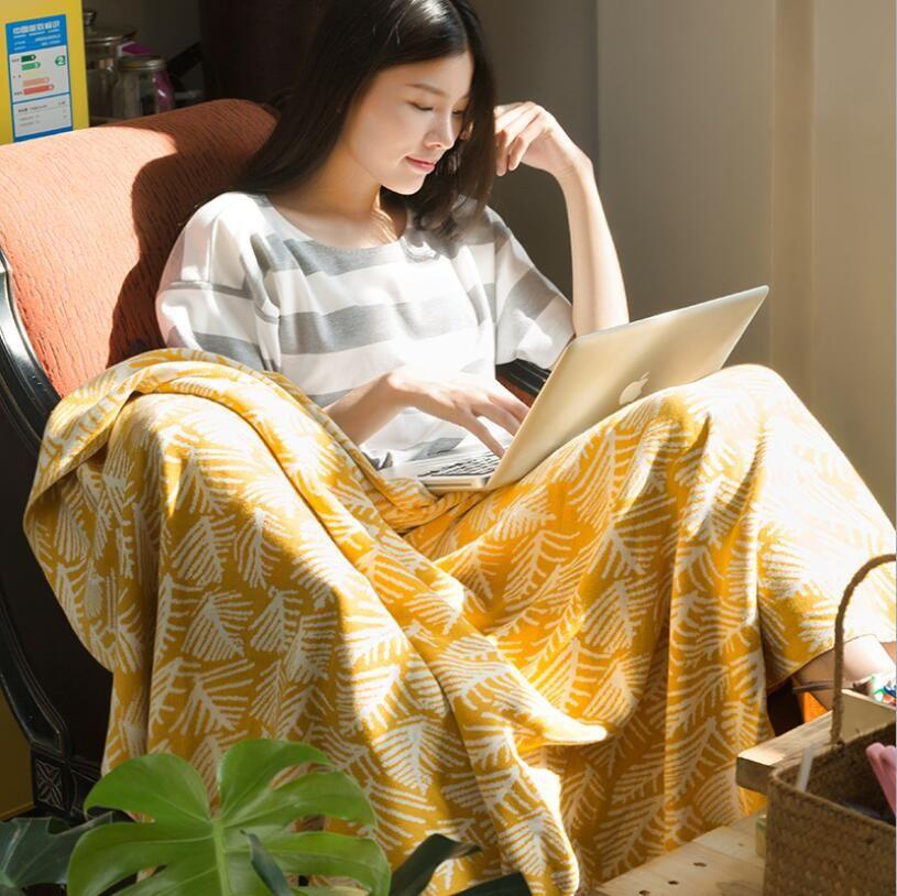Amerikanische Baumwolle Strickdecke Klimaanlage Decke Sofabezug Decken Raumbüroschlaf Decke weich Dekoration leben