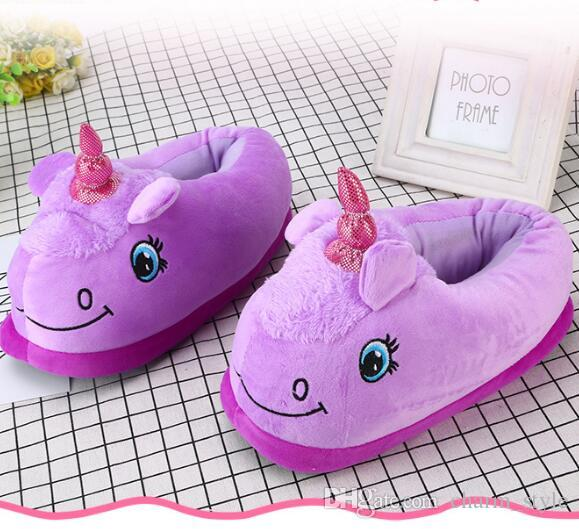 Cute Kids House Indoor Slippers Home Winter Warm Cotton Shoes Sandals Anti-Slip//