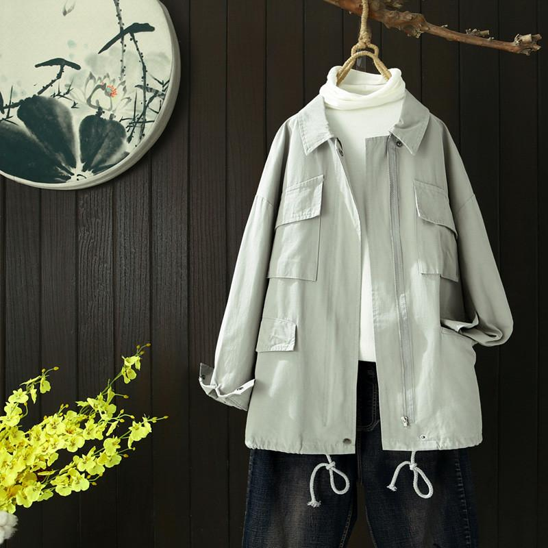 Wholesale-Short Windbreaker Female Fashion Trench Autumn Woman Spring Coats And Jackets Vintage Trench Coat Coat Short Green HH50FY