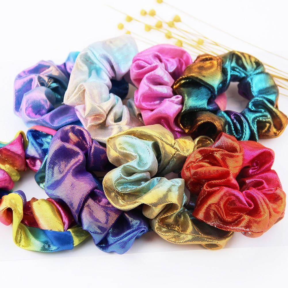 New Elegant Women Elastic Hair Rope Glitter Ponytail Holder Laser Radiation Colorful Hair Ring Scrunchy Band Accessories