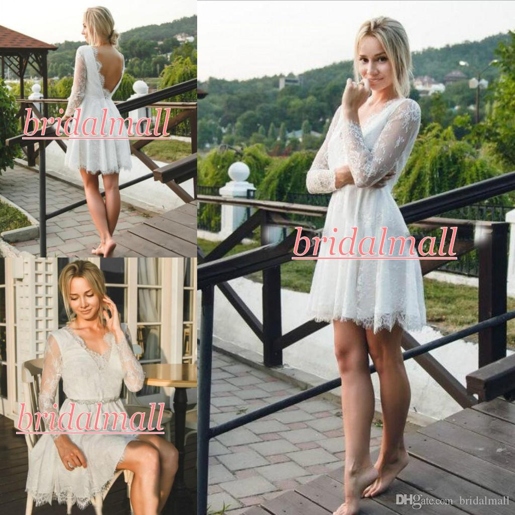 Robe de mariage 2019 White Appliqued Lace Short Wedding Dresses With Long Sleeve Boho Garden Bridal Gowns Backless Informal Reception Dress