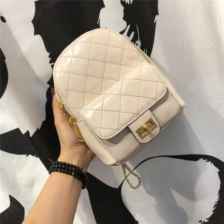 Distinctive2019 Xiangling Small Lattice Mini- Both Shoulders Backpack Chain Straps Demeanour Head Layer Wax Oil Cowhide