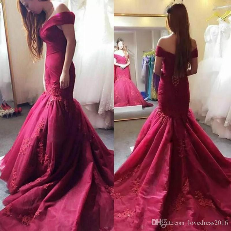 2019 Burgundy Mermaid Wedding Dresses with Applique Lace Up Back Long Sweep Trumpet Wedding Gowns for Bride