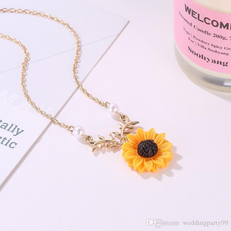Hochwertige modische sunflower leaf anhänger halskette perle halsketten mit schönen blume schlüsselbein ketten halskette für mädchen