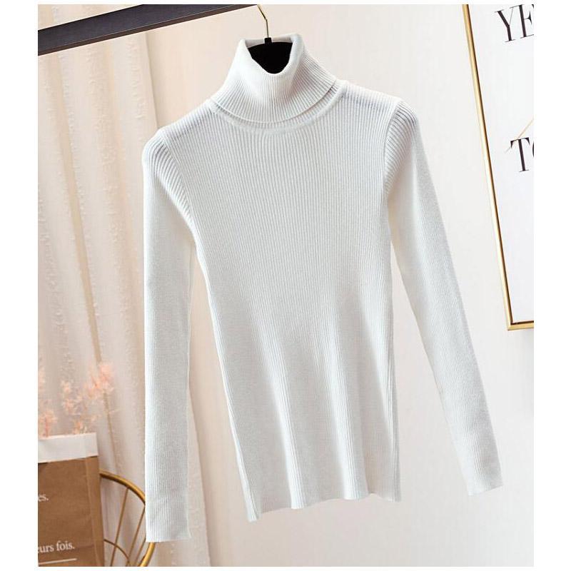 Стрейч Женские свитера водолазка пуловеры мягкая грунтовка рубашка с длинным рукавом корейский Slim-fit плотный свитер 2020 Осень Зима твердый