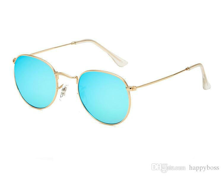 Lentes de color venta mujeres gafas de sol del metal Shade marco de los vidrios Ronda de PC de verano al aire libre a prueba de viento del océano playa mujer con la caja Gafas