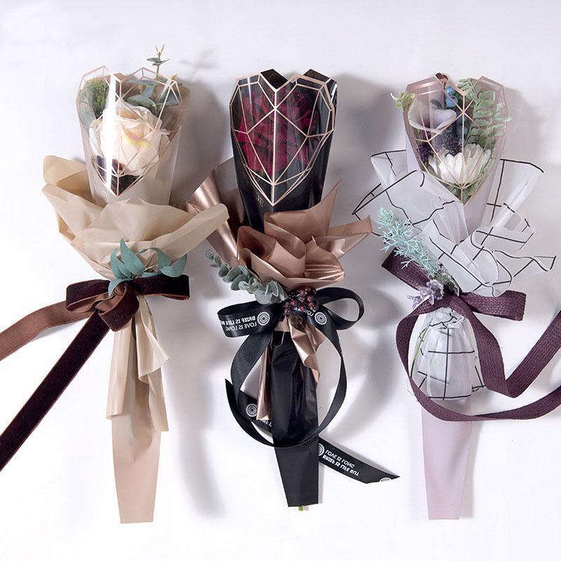 200 unids / lote papel de envoltura de flores de celofán rosa bolsa de plástico individual Opp Bouquet Floral Material de embalaje suministros de boda