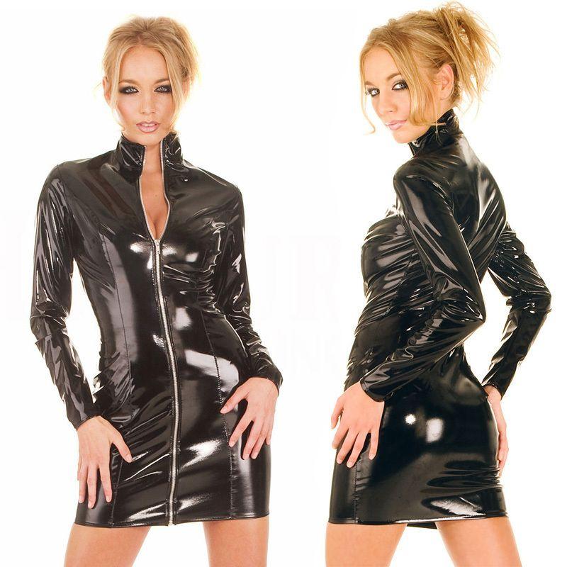 نساء غريبة الأكمام الطويلة سحاب الفينيل PVC الجلد اللباس ملهى ليلي DS بار لامعة غمد اللباس البسيطة