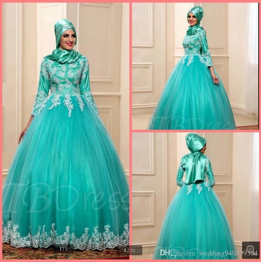 Новое поступление бальное платье 2019 небесно-голубой мусульманские аппликации платья выпускного вечера арабский 3/4 рукав скромная принцесса пышные платья выпускного вечера горячие продажи