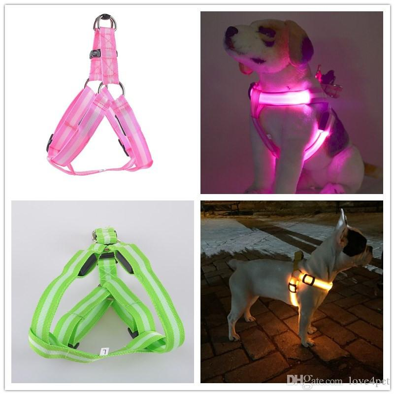C02 Striped pet dog LED light harnesses pet belt luminous dog harness for medium large dogs USB rechargeable