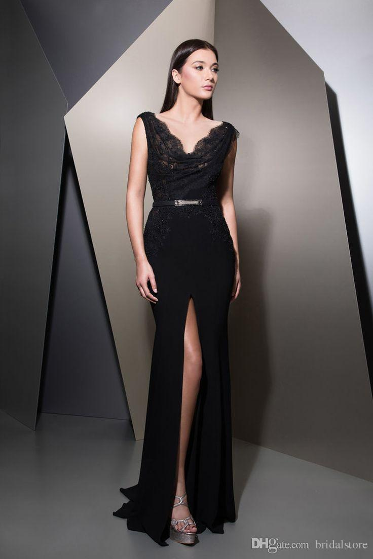 ziad nakad black evening gowns Exquisite V Neck Front Slits Long Prom Dresses elegant formal dress 2018 arabic ladies Fall Mermaid Evening