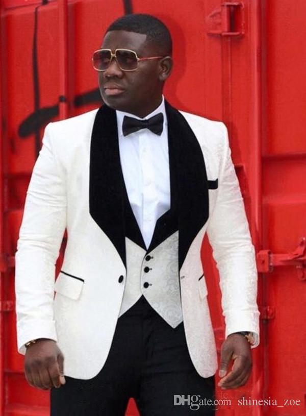 새 원 버튼 흰 신랑 턱시도 검은 목도리 옷깃 남자 정장 Mens Prom Suits (자켓 + 바지 + 조끼)