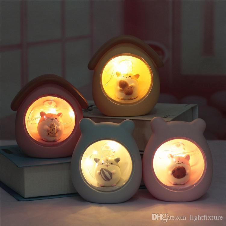 만화 햄스터 야간 조명 귀여운 아기 방 장식 Led 책상 램프 침대 옆 보육 램프 데스크탑 침실 분위기 빛
