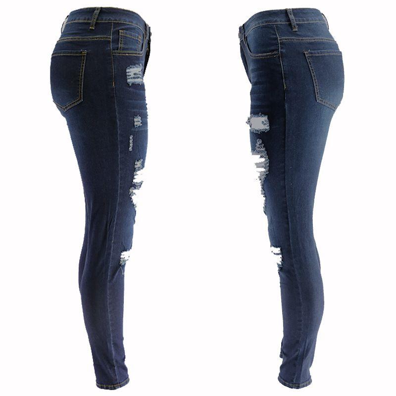 2020 Spring Leopard strappato Abbigliamento da donna Jeans diretto Hip Slim-Fit Denim Pantaloni CK010-3