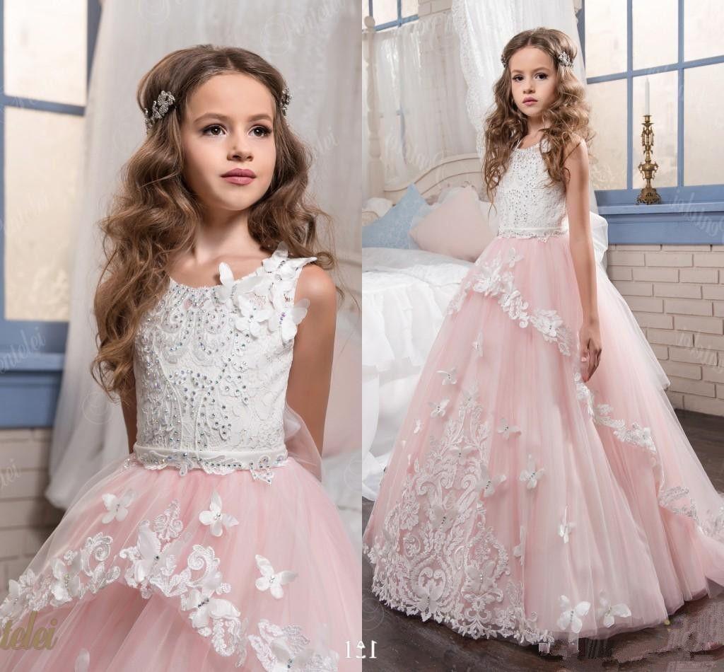 Rubor rosa del vestido de bola de los vestidos de flores niña de la joya de la boda del cuello de volantes partida de longitud de 2020 fiesta de cumpleaños del niño largo vestido de comunión