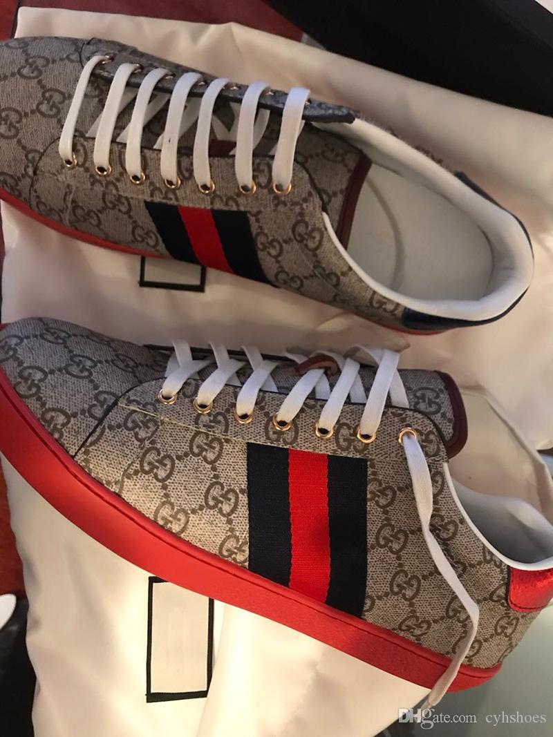 أعلى جودة مصمم أحذية أحمر أسفل الأخضر مطرزة مع الويب للرجال النساء ايس جلد طبيعي مصمم أحذية رياضية أحذية بيضاء النحل