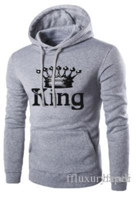 Любители Толстовки Мужская одежда Весна King Queen Печатные пиджаков Пуловеры