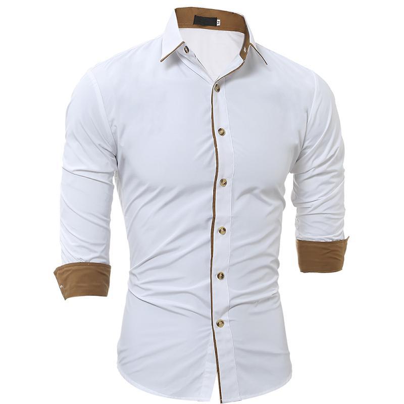 Erkekler Yeni DesignBusiness Gömlekler için Bırak Yaka Uzun Kollu Erkek Beyaz Pamuk Gömlek Nakış Kahverengi Şerit Gömlek