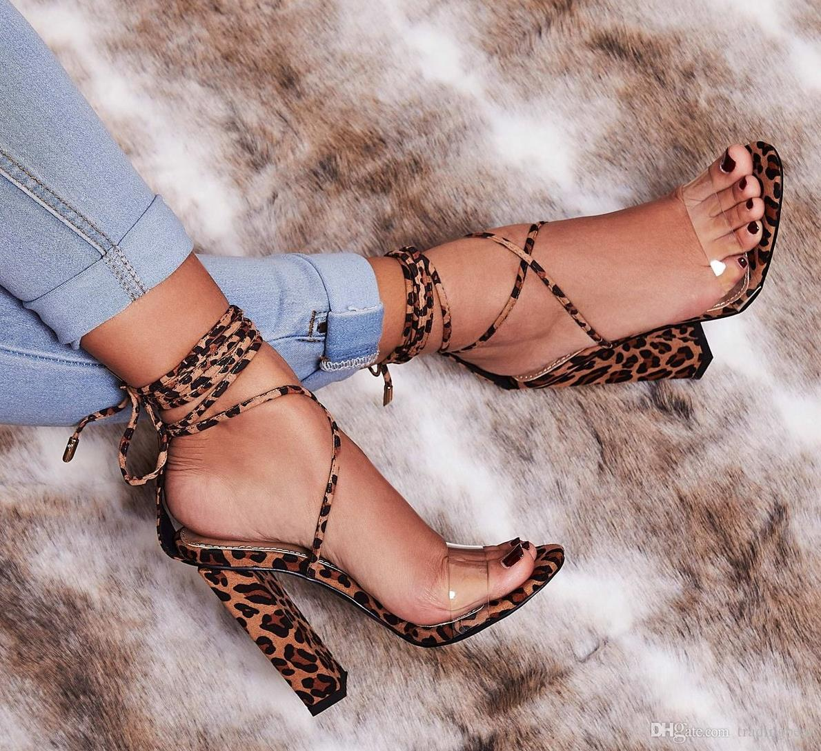 clear leopard sandals