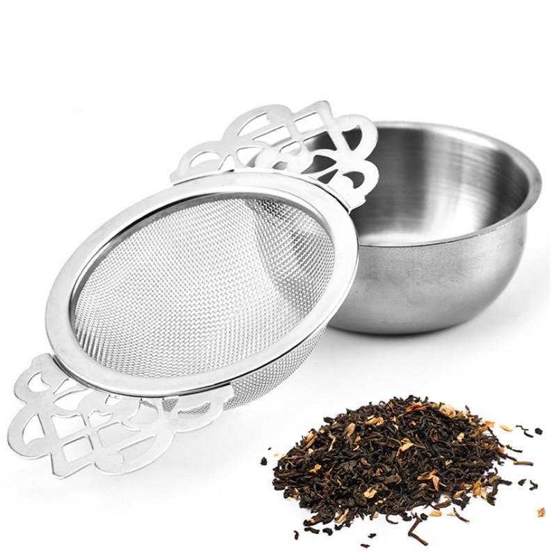 تصفية الفولاذ المقاوم للصدأ الشاي مصفاة الشاي مع القاع كأس مزدوجة مقبض السائبة التوابل تصفية قابلة لإعادة الاستخدام شاي مصفاة اكسسوارات ابريق الشاي