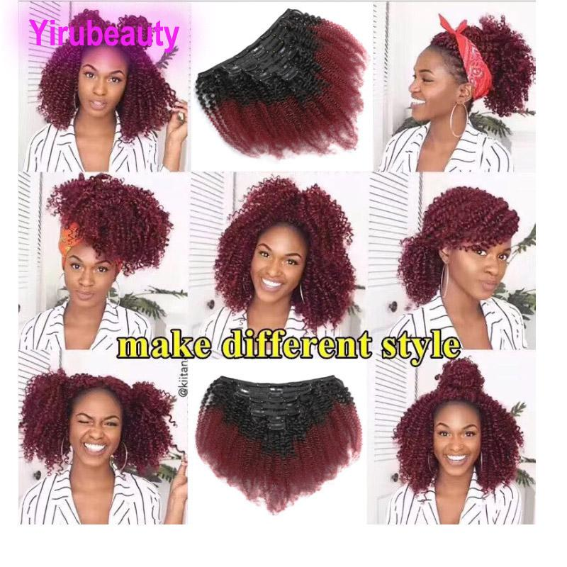 Brazilian Peruvian Indian Virgin Hair Clips In T1B/99J Afro Kinky Curly 120g Yirubeauty Ombre Color Cip-on Hair Products 1b 99j