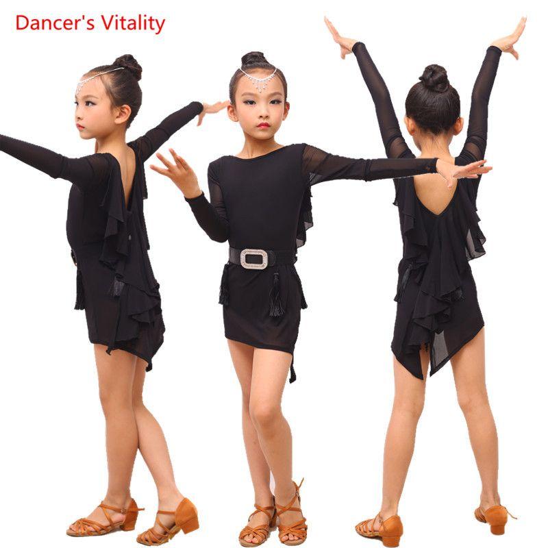 Sahne Giyim Kızlar Latin Dans Uygulaması Elbise Kız / Çocuklar Uzun Kollu Backless Çocuk Balo Salonu Giyim Performans Giysiler