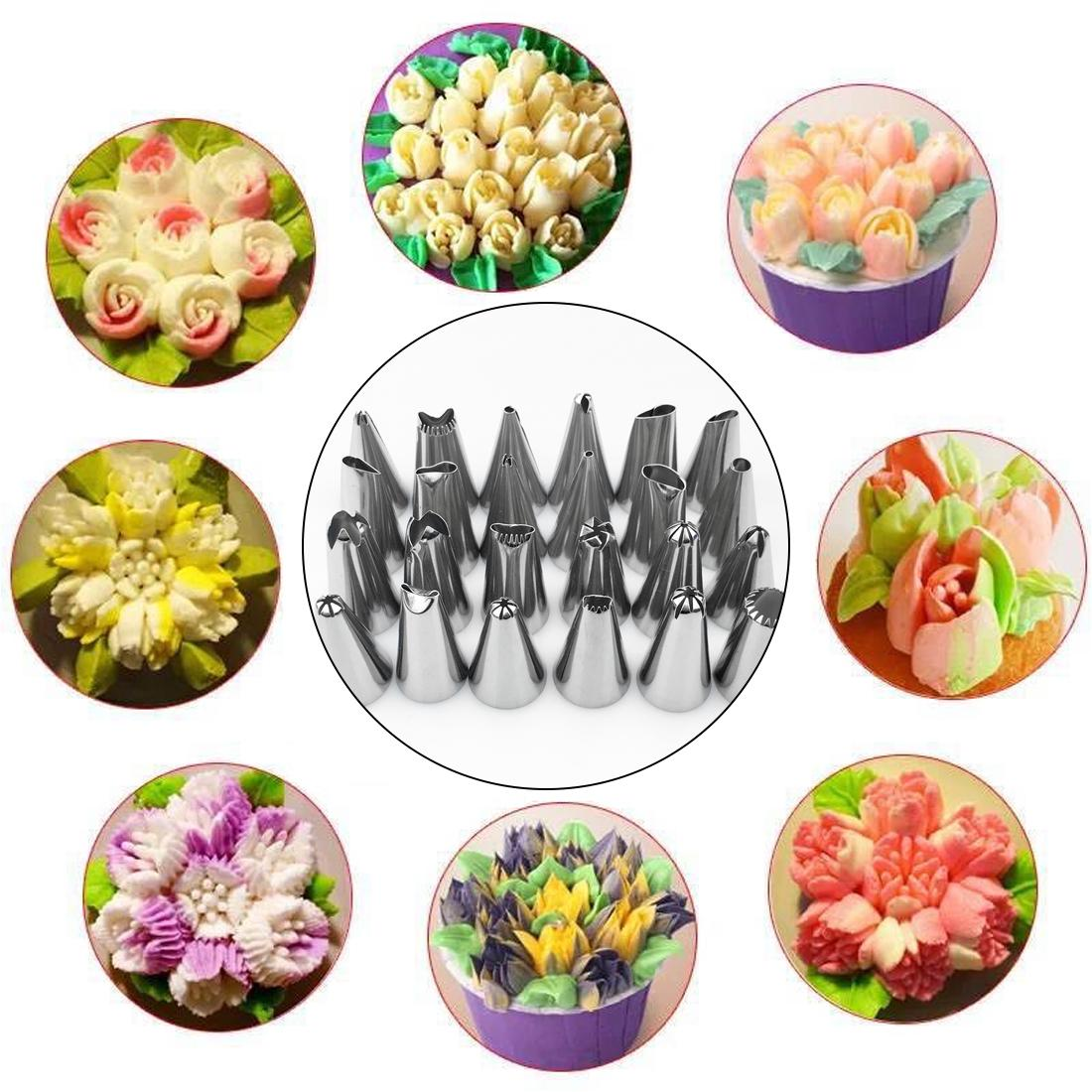 Cake Decorating Stainless steel Large Icing Piping Pastry Nozzles Pastry Tips Kitchen Accessories Baking Cake decor 24Pcs/set X 2set