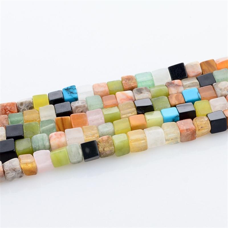 Toptan 1 Strand / lot Kare-şekil Renkli Doğal Taş Boncuk 4mm DIY Bilezik Kolye Spacer Boncuk Takı Yapımı İçin