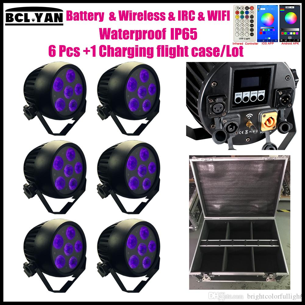 High Quality Waterproof ip65 led wash light with battery Wireless dmx Remote WIFI Smart par uplights 6pcs with road case