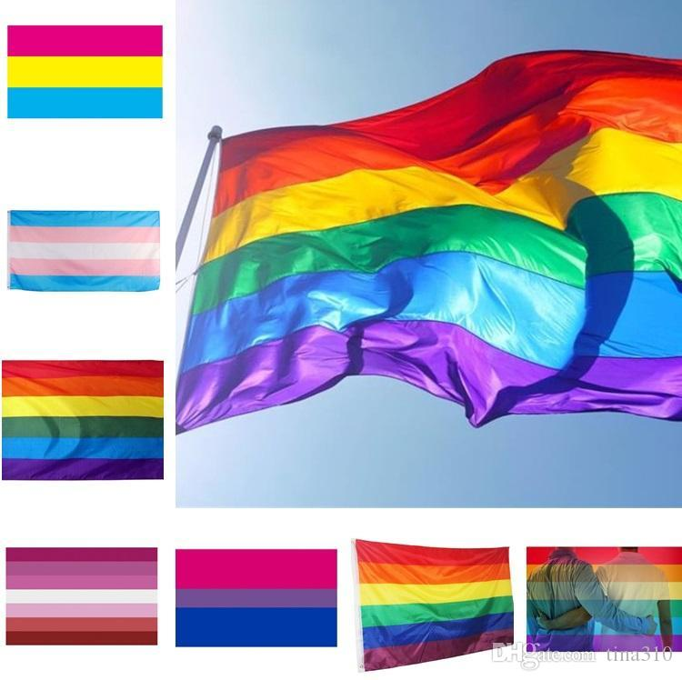 Rainbow Banner Flags 90x150cm Transgender Flag Pink Blue Polyester Homosexual Flag Banner Flags Party Supplies Rainbow Flag 6019