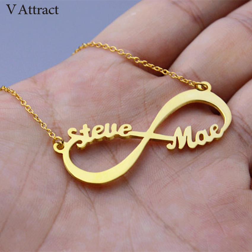 V Attract Custom Infinity Name Necklace Handmade Jewelry Personalized Pendant Choker Rose Gold Silver Cursive Nameplate Collier