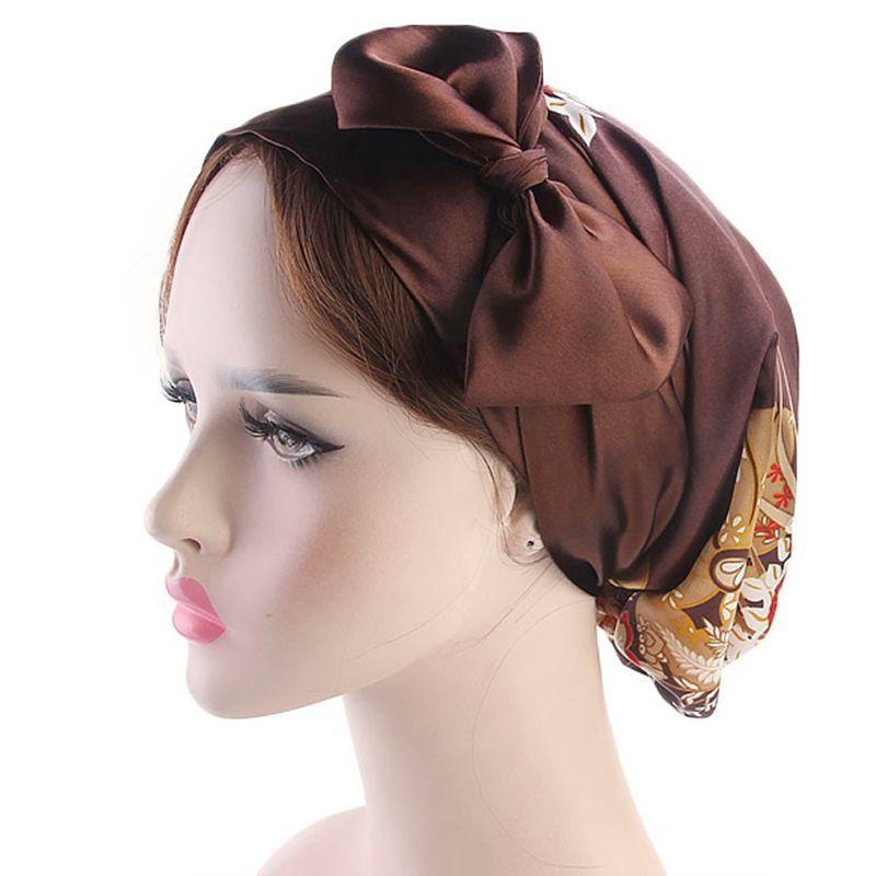 8 Renk Moda Kadın Saç Aksesuarları Bayan Saten Big ilmek Turban Şapka Çiçek Polka Dot Kemo Cap Elastik bandanas